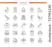 camping thin line icons set | Shutterstock .eps vector #727901230