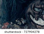 halloween background with scary ... | Shutterstock . vector #727904278