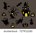 halloween black figures | Shutterstock .eps vector #727912183