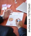 men's hands work with documents ... | Shutterstock . vector #727912660
