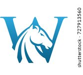 vector blue wild horse initial... | Shutterstock .eps vector #727913560