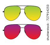 black sunglasses with colorful...   Shutterstock .eps vector #727914253