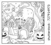 halloween background cemetery...   Shutterstock .eps vector #727914973