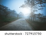 hiking trail and dark with fog... | Shutterstock . vector #727915750