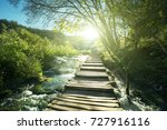 way in forest  plitvice lakes ... | Shutterstock . vector #727916116