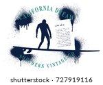california dream surf frame | Shutterstock .eps vector #727919116