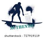stencil surf frame with rider | Shutterstock .eps vector #727919119