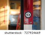open door button  vintage train ... | Shutterstock . vector #727924669