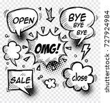 set of comic speech bubbles  ... | Shutterstock .eps vector #727924984
