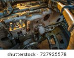 Small photo of Obsolete mechanism. Rusted mechanism. Complex mechanism.
