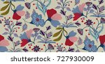 seamless floral pattern in... | Shutterstock .eps vector #727930009