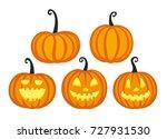 set of cute halloween pumpkins. ...   Shutterstock .eps vector #727931530
