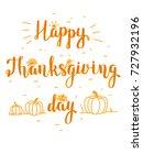 thanksgiving day lettering | Shutterstock .eps vector #727932196
