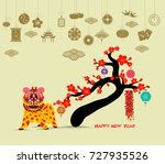 oriental happy chinese new year ... | Shutterstock .eps vector #727935526