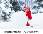 children build snowman. kids... | Shutterstock . vector #727936594