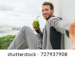 healthy green smoothie selfie... | Shutterstock . vector #727937908