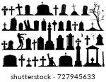 gravestones and tombstones... | Shutterstock .eps vector #727945633