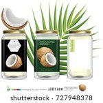 coconut oil bottle illustration | Shutterstock .eps vector #727948378