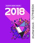 happy new year 2018 colorful... | Shutterstock .eps vector #727948504