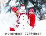 children build snowman. kids... | Shutterstock . vector #727948684