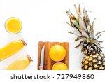preparing pineapple juice. cut... | Shutterstock . vector #727949860