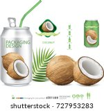 packaging with  coconut water... | Shutterstock .eps vector #727953283