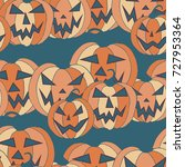 jack o lantern seamless pattern.... | Shutterstock .eps vector #727953364