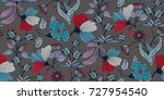 seamless floral pattern in... | Shutterstock .eps vector #727954540