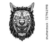 angry smiling cunning wolf... | Shutterstock .eps vector #727961998
