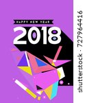 happy new year 2018 colorful... | Shutterstock .eps vector #727964416