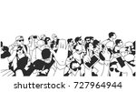 stylized drawing of party crowd ... | Shutterstock .eps vector #727964944