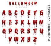 halloween bloody alphabet... | Shutterstock .eps vector #727966636
