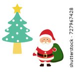 santa claus with gift bag on... | Shutterstock .eps vector #727967428