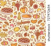 thanksgiving vector food... | Shutterstock .eps vector #727972654