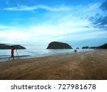 fisherman pulls the nets. catch ... | Shutterstock . vector #727981678