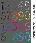 colorful floral numerals.... | Shutterstock .eps vector #728002588