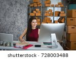 young woman using laptop... | Shutterstock . vector #728003488