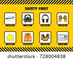 safety first at work concept... | Shutterstock .eps vector #728004838
