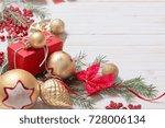 christmas decoration on white... | Shutterstock . vector #728006134