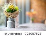 blur flower in steel vase wall...   Shutterstock . vector #728007523