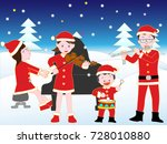 christmas concert with family. | Shutterstock .eps vector #728010880