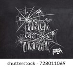 trick or treat halloween poster ... | Shutterstock .eps vector #728011069