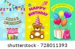 happy birthday kids postcard... | Shutterstock .eps vector #728011393