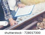 industrial engineering holding... | Shutterstock . vector #728017300