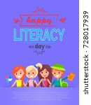 happy literacy day poster with... | Shutterstock .eps vector #728017939