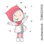 winter girl. christmas card.