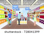 people at the supermarket in... | Shutterstock .eps vector #728041399