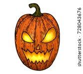 carved halloween pumpkins ... | Shutterstock .eps vector #728043676
