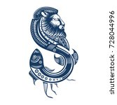tattoo sketch  lion and fish ... | Shutterstock .eps vector #728044996