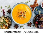 soup with sweet potatoes ... | Shutterstock . vector #728051386